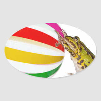 Beach time for frogs oval sticker