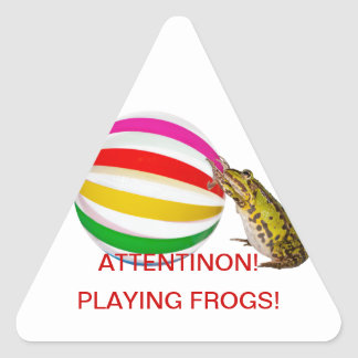Beach time for frogs triangle sticker