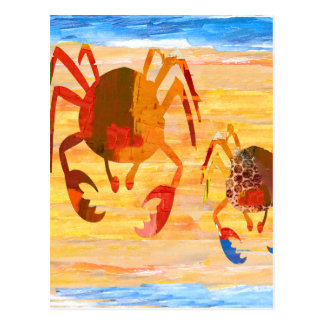Beach time fun with crab patrol postcard