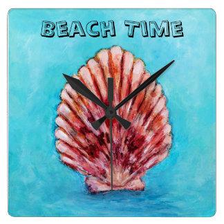 Beach Time Shell Clock