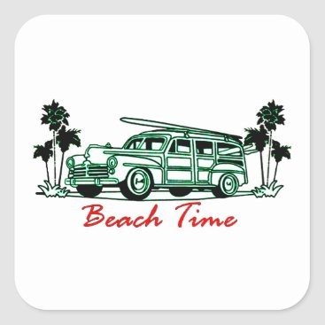 Beach Time Square Sticker