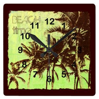 beach time - tropical palms beach wall clocks