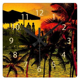 beach time - tropical palms beach wallclock