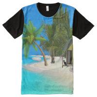 BEACH TIME TSHIRT.  TROPIC BEACH AND CAT All-Over-Print T-Shirt