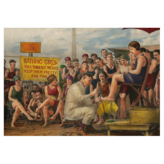 Beach - Toes Tenderly Treated 1922 Wood Poster