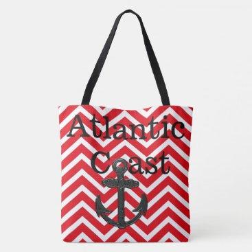 Beach Themed beach tote bag anchor Atlantic Coast red chevron
