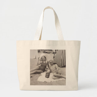 Beach tote with a vintage travel poster