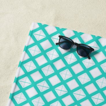 Beach Themed Beach Towel - Aqua Lattice