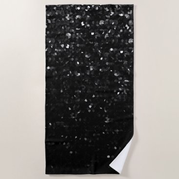 Beach Themed Beach Towel  Black Crystal Bling Strass