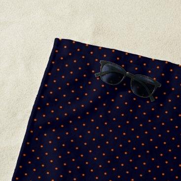 Beach Themed Beach Towel Dark Blue with Orange Dots