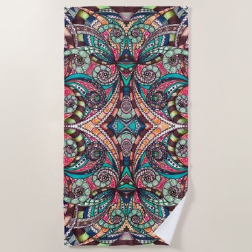 Beach Themed Beach Towel Drawing Floral