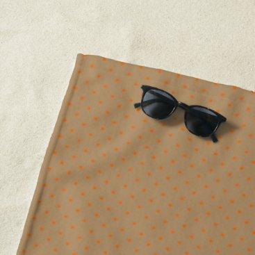Beach Themed Beach Towel Gold with Orange Dots