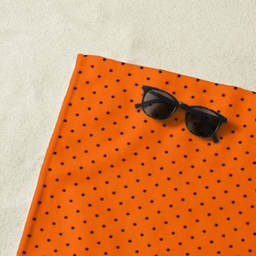 Beach Themed Beach Towel Orange with Dark Blue Dots