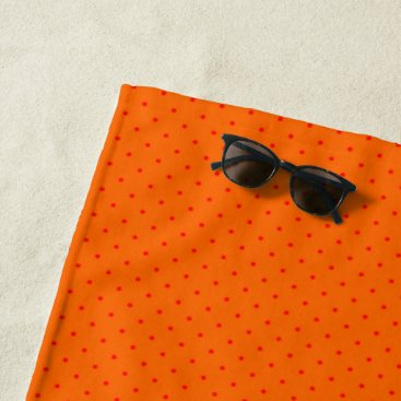 Beach Themed Beach Towel Orange with Red Dots