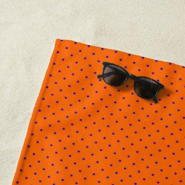 Beach Themed Beach Towel Orange with Royal Blue Dots