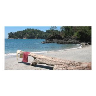 beach towel photo card