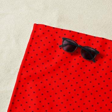 Beach Themed Beach Towel Red with Dark Blue Dots