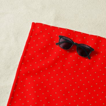 Beach Themed Beach Towel Red with Golden Dots