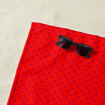 Beach Themed Beach Towel Red with Royal Blue Dots