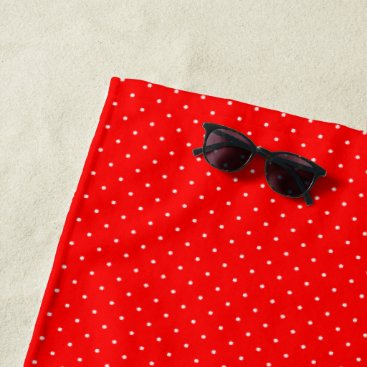 Beach Themed Beach Towel Red with White Dots
