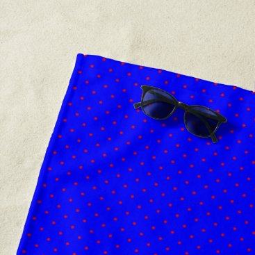 Beach Themed Beach Towel Royal Blue with Red Dots