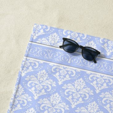 Beach Themed Beach Towel - Wedgewood Blue Damask