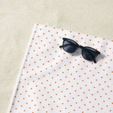 Beach Themed Beach Towel White with Orange Dots