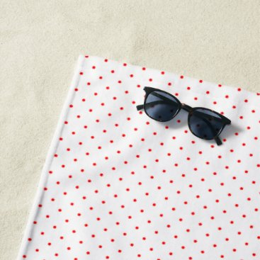 Beach Themed Beach Towel White with Red Dots