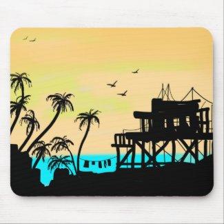 Beach Tower Sunset Mousepad