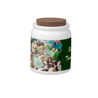 Beach Treasures candy jars Blue Green Sea Glass