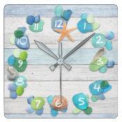 Beach Treasures Sea Glass Driftwood Shells Square Wall Clock (<em>$31.65</em>)