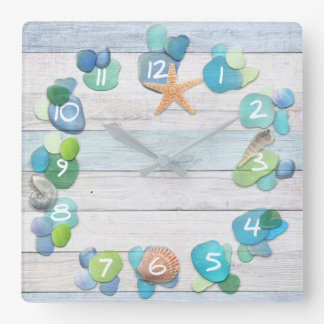 Beach Treasures Sea Glass Driftwood Shells Square Wall Clock