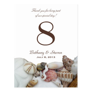 Beach Treasures Vertical Table Number Cards