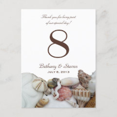 Beach Treasures Vertical Table Number Cards postcard