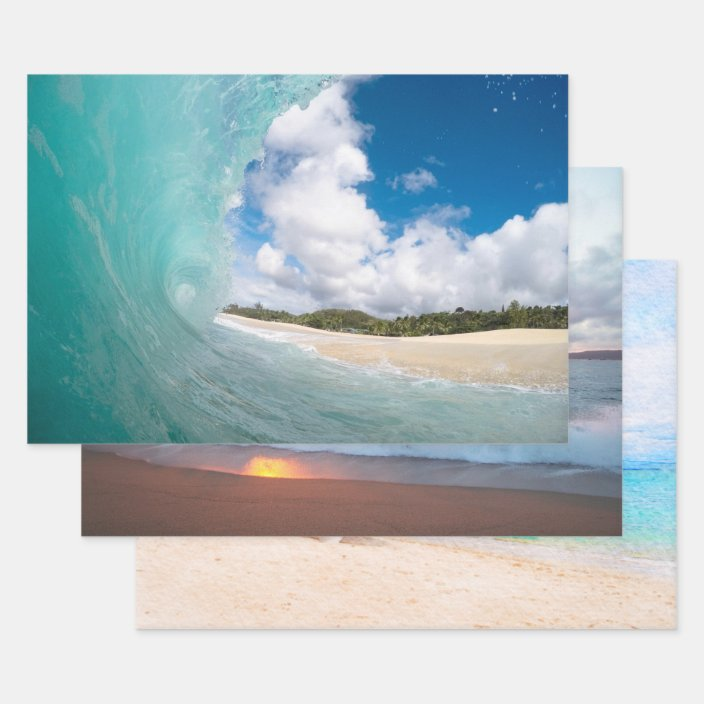 Seas The Day Beach Ocean Tropical Premium Gift Wrap Wrapping Paper Roll