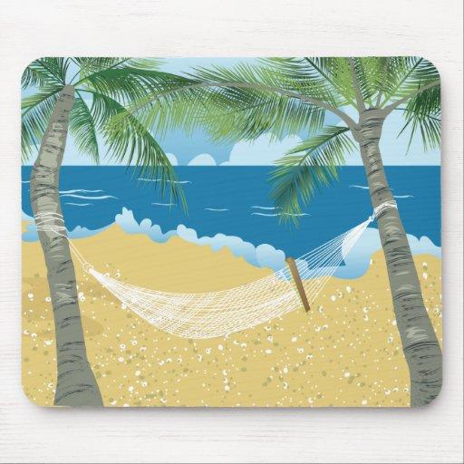 Beach ~ Tropical Beach Hammock Vacation Mouse Pad