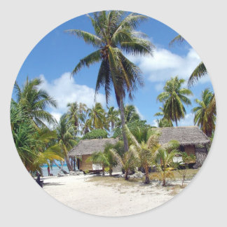 Beach Tropical Bed Breakfast Round Stickers