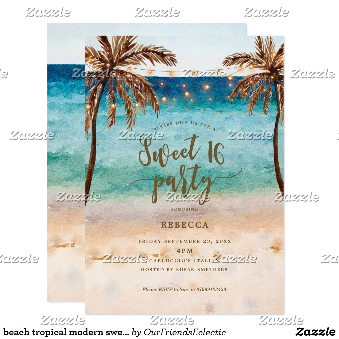 beach tropical modern sweet 16 invitation