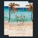 "beach tropical modern sweet 16 invitation<br><div class=""desc"">A beautiful beach , palm trees and string lights design sweet 16 party invitation with a co-ordinating beach background. reverse side. Easy to edit or delete the available text fields to personalise the information with your own details for a professional and custom finish. Lots of matching items in this boho...</div>"