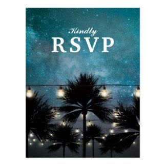 Beach Tropical Palm Tree String Lights RSVP Postcard