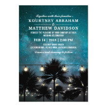Beach Tropical Palm Tree String Lights Wedding Invitations