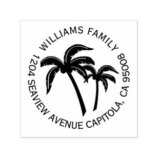 Beach Tropical Palm Trees Return Address Self-inking Stamp