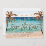 """beach tropical palm trees save the date card<br><div class=""""desc"""">A beautiful watercolour tropical beach scene with palm trees design save the date card, with matching beach reverse side. Easy to edit or delete the available text fields to personalise the information with your own details. Lots of matching items in this beachy/boho collection. Please visit my shop to see the...</div>"""