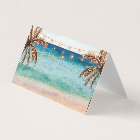 beach tropical palm trees wedding party place card