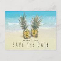 Beach Tropical Pineapple Save the Date Announcement Postcard