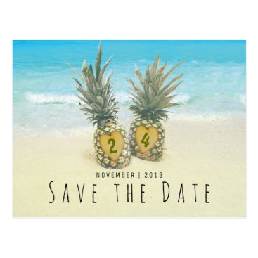 Valentines Themed Beach Tropical Pineapple Save the Date Postcard
