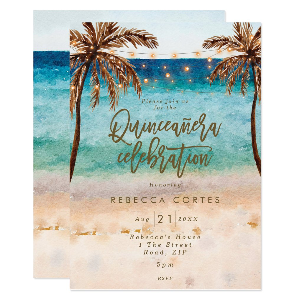 beach tropical Quinceanera 15th birthday Invitation
