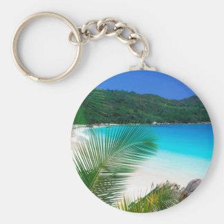 Beach Tropical Retreat Seychelles Basic Round Button Keychain