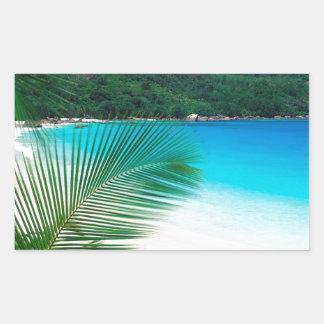 Beach Tropical Retreat Seychelles Rectangular Sticker
