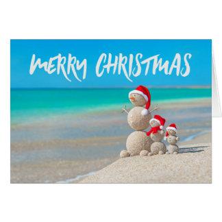 Beach Tropical Snowman Sand Merry Christmas Card